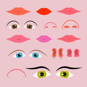 Vector Eyes, Mouths, Noses and Ears Set — Stock Vector