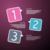 Vector Progress Three Steps for Tutorial, Infographics — Stock vektor