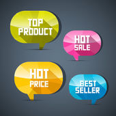 Colorful Labels Best Seller, Top Product, Hot Sale, Price — Stock Vector