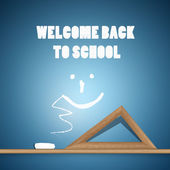 Welcome Back to School Blue Background — Stock Vector
