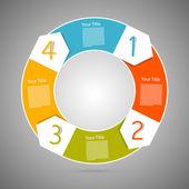 Retro Vector Circle Progress Steps for Tutorial, Infographics — Stock Vector
