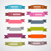 Colorful Retro Ribbons, Labels Set — Stock Vector