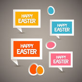 Retro Paper Tags with Happy Easter Title and Eggs — Stock Vector