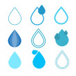 Stock Vector: Blue Vector Water Drops Symbols Set