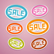 Stock Vector: Oval Paper Vector Sale Titles on Pink Background