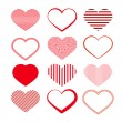 Heart Set. Red Valentine Symbols. — Stock Vector #38557161