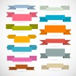 Retro Ribbons, Labels, Tags Set Isolated on White Background — Stock Vector