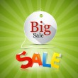Big Sale Tag on Green Background — Stock Vector
