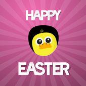 Happy easter abstracte roze achtergrond met grappige gele kip — Stockvector