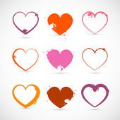Heart Set. Grunge Pink, Red, Orange Valentine Symbols with Splashes, Stains, Blots. — Stock Vector