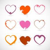 Heart Set. Grunge Pink, Red, Orange Valentine Symbols with Splashes, Stains, Blots. — Stock Vector
