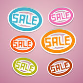 Oval Paper Vector Sale Titles on Pink Background — Stock Vector