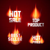 Hot Sale, Best Seller, Top Product, Hot Price Titles in Flames, Fire — Stockvektor