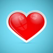 Red 3d Vector Retro Heart on Blue Background — Stock vektor