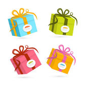 Vector Present Boxes Isolated on White Background — Stock Vector