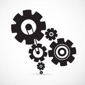 Abstract Vector Cogs - Gears on Grey Background — Stock Vector