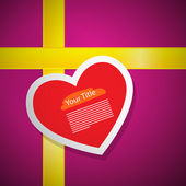 Red Heart on Pink Gift Box Cover with Yellow Ribbon — Stock Vector