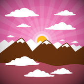 Natura astratta montagne illustrazione con nuvole, tramonto, cielo rosa — Vettoriale Stock