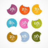 Colorful Vector Discount Stickers, Labels — Stock Vector
