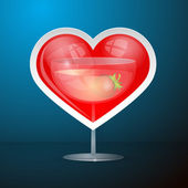 Abstract Vector Red Heart and Drink Glass — Stock Vector