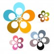 Abstract Vector Retro Flowers Set — Stock Vector