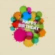 Happy Birthday Vector Background with Colorful Blots, Splashes — Stock Vector #39126285