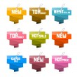 Vector Set of Colorful Retro Paper Discount Labels, Tags — Stock Vector