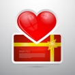 Valentine Gift Card with Heart — ストックベクタ