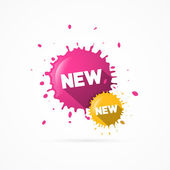 Vektorové růžové a žluté nálepky - skvrny s novým názvem — Stock vektor