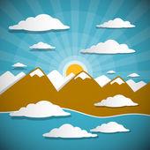 Fondo abstracto vector con montañas, nubes, cielo azul y sol — Vector de stock
