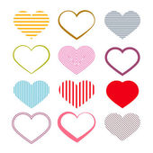 Heart Set. Retro Valentine Symbols. — Stock Vector