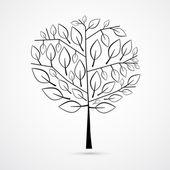 Black Tree Silhouette Illustration — Stock Vector