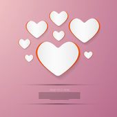 Paper Vector Hearts on Pink Background — Stock Vector