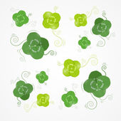 Green Clover Leaves Vector Background — ストックベクタ