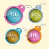 Sale, Discount Vector Circle Labels with Strings Set — Stock Vector