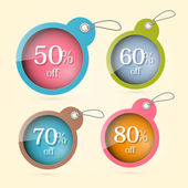 Sale, Discount Vector Circle Labels with Strings Set — Stok Vektör