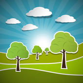 Retro Vector Illustration of Trees, Clouds and Blue Sky — Stock Vector
