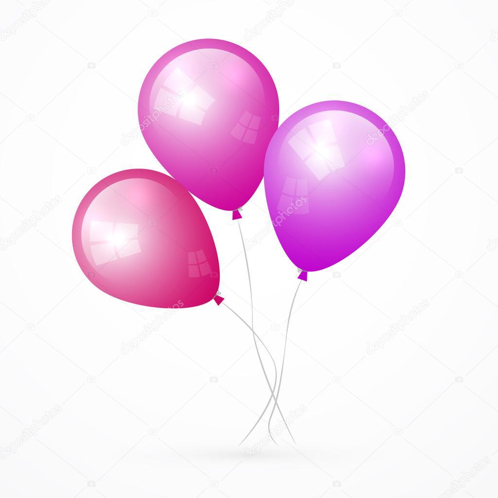 孤立的白色背景上的粉色,紫色的矢量气球— 矢量图片作者 mejn
