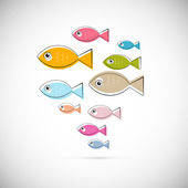 Colorful Abstract Vector Fish Illustration Isolated on Light Grey Background — Stock vektor