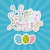 Happy Easter Paper Retro Blue Background — Stock Vector
