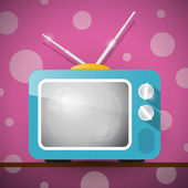 Retro Blue Television, TV Illustration on Abstract Pink Background — Stock Vector