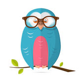 Owl with Glasses Vector Paper Illustration Isolated on White Background — Stock Vector