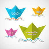 Paper Boat Origami Set — Stock Vector