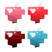 Paper Labels for Valentine, Wedding with Hearts — Stock Vector