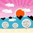 Nature Paper Mountains Illustration with Clouds, Sun, Pink Sky — Stock Vector