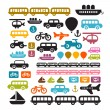 Stock Vector: Vector Transportation Icons Isolated on White Background