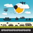 Vector Transportation Icons on Landscape Background — Stock Vector