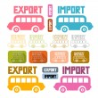 Export Import Icons Isolated on White Background — Stock Vector