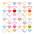 Colorful Vector Heart Set. Red Valentine Symbols. — Stock Vector