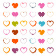 Vector Grunge Heart Symbols Set Isolated on White Background — Stock Vector